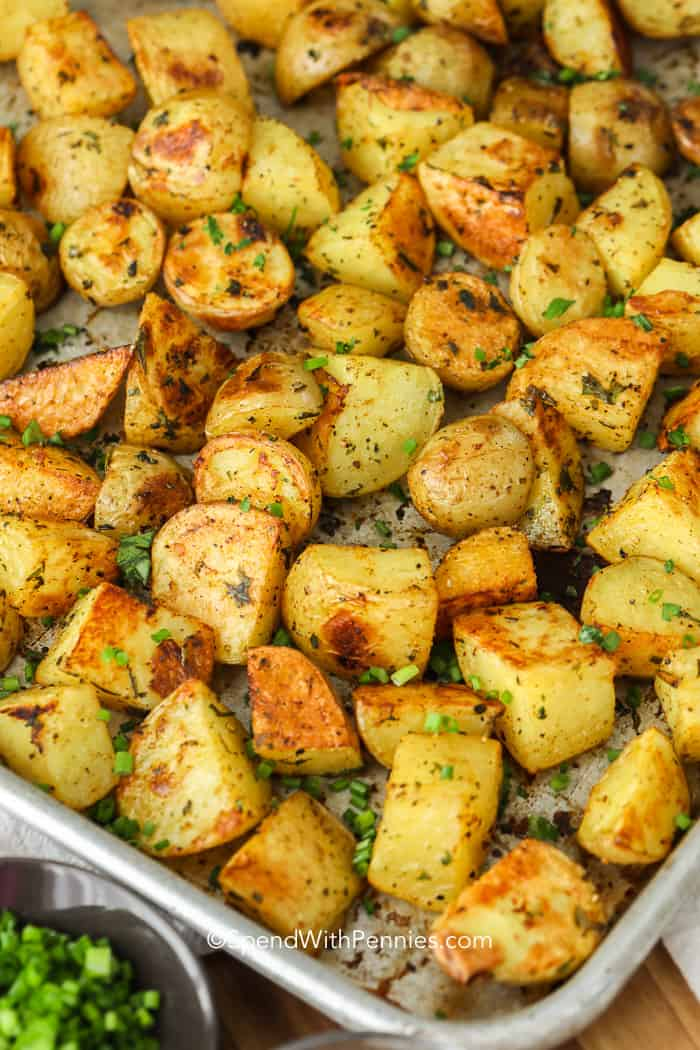 Roasted Potatoes on a baking sheet - a family favorite side!