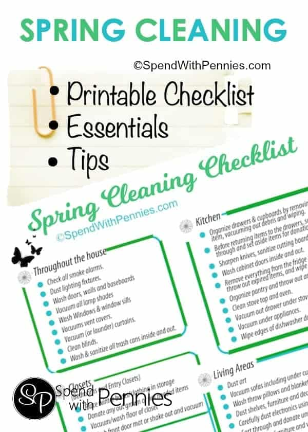 Spring Cleaning Printable Checklist, Essentials & Tips