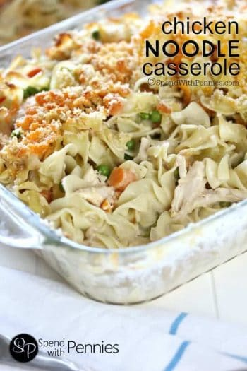 Chicken noodle casserole with a breadcrumb topping