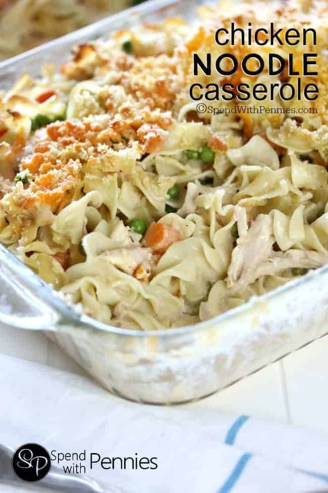 chicken noodle casserole in a pan