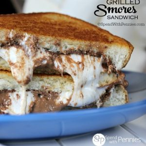 Grilled Smores Sandwich!  Quick, easy and ooey gooey goodness!