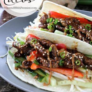 Mongolian beef tacos