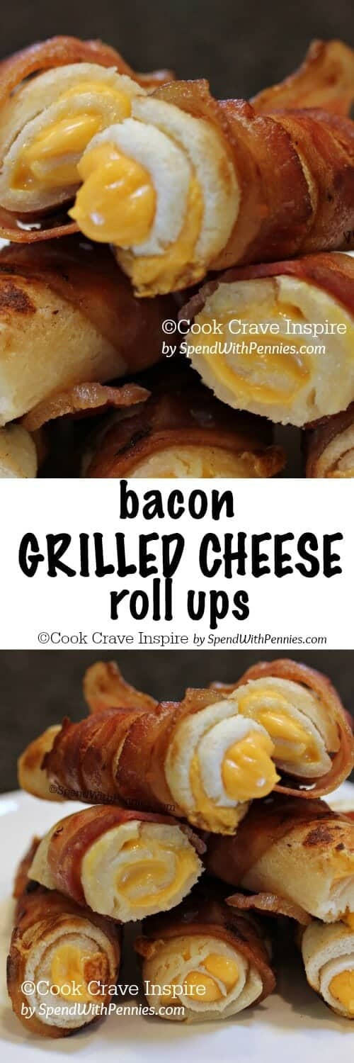 two images of Bacon Grilled Cheese Roll Ups
