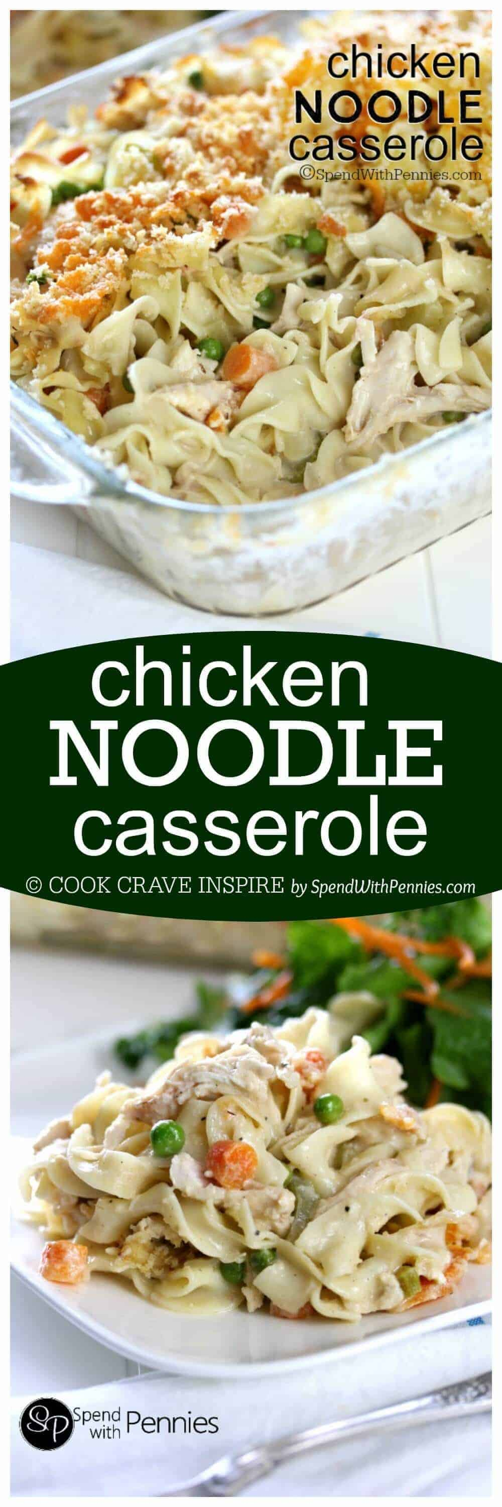Chicken Noodle Casserole with a title