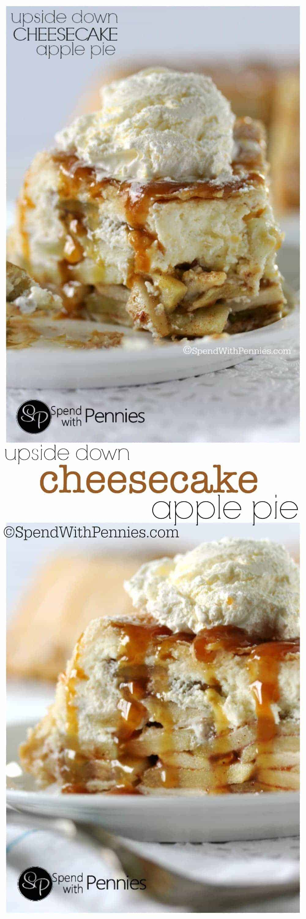 Upside Down Cheesecake Apple Pie! This really is the most amazing dessert ever! Cheesecake and apples make the most amazing pie filling wrapped in a flaky crust! Made by SpendWithPennies.com