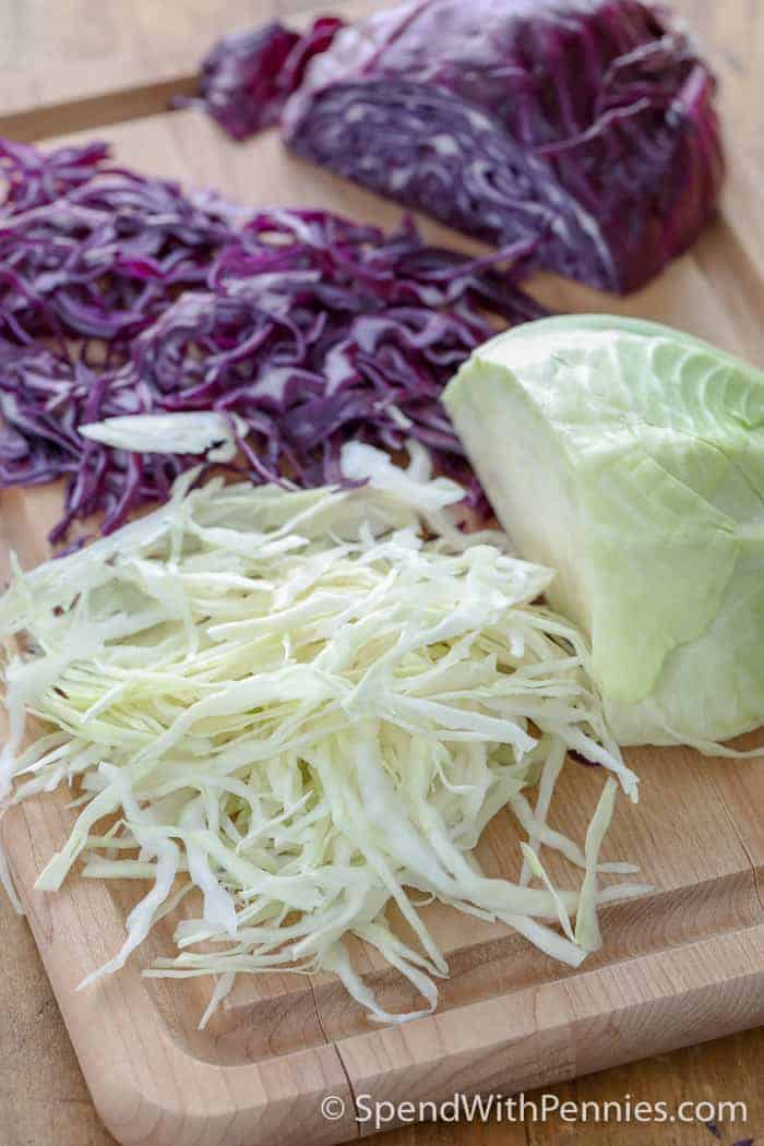 Thinly sliced cabbage to make the best coleslaw recipe
