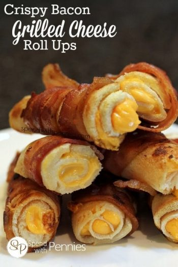 a stack of Crispy Bacon Grilled Cheese Roll Ups
