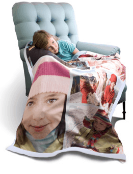 girl with a fleece blanket on a blue comfy chair