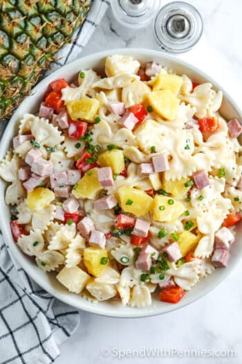 overhead view of pasta salad with ham and pineapple