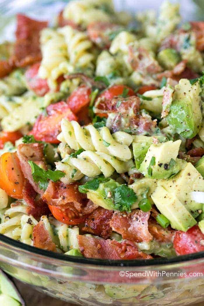 Fresh juicy tomatoes, crisp bacon and creamy avocados are tossed in a beautifully creamy dressing. This pasta salad uses avocados in place of mayonnaise for a dressing that is rich and creamy yet loaded with the benefits of avocado!