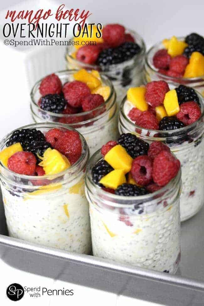 Overnight Oats can be made with any fruit & are and easy, healthy make ahead breakfast!  Greek yogurt, chia seeds & fruit and perfect to grab & go!