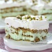 a slice of No Bake Pistachio Icebox Cake