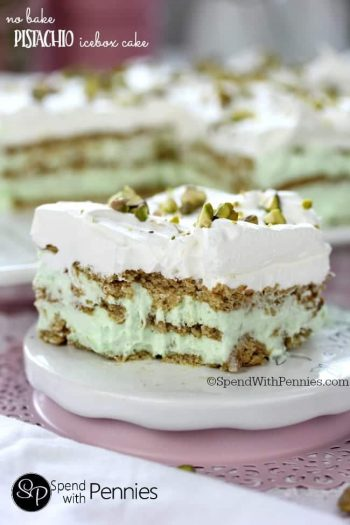 a slice of No Bake Pistachio Icebox Cake