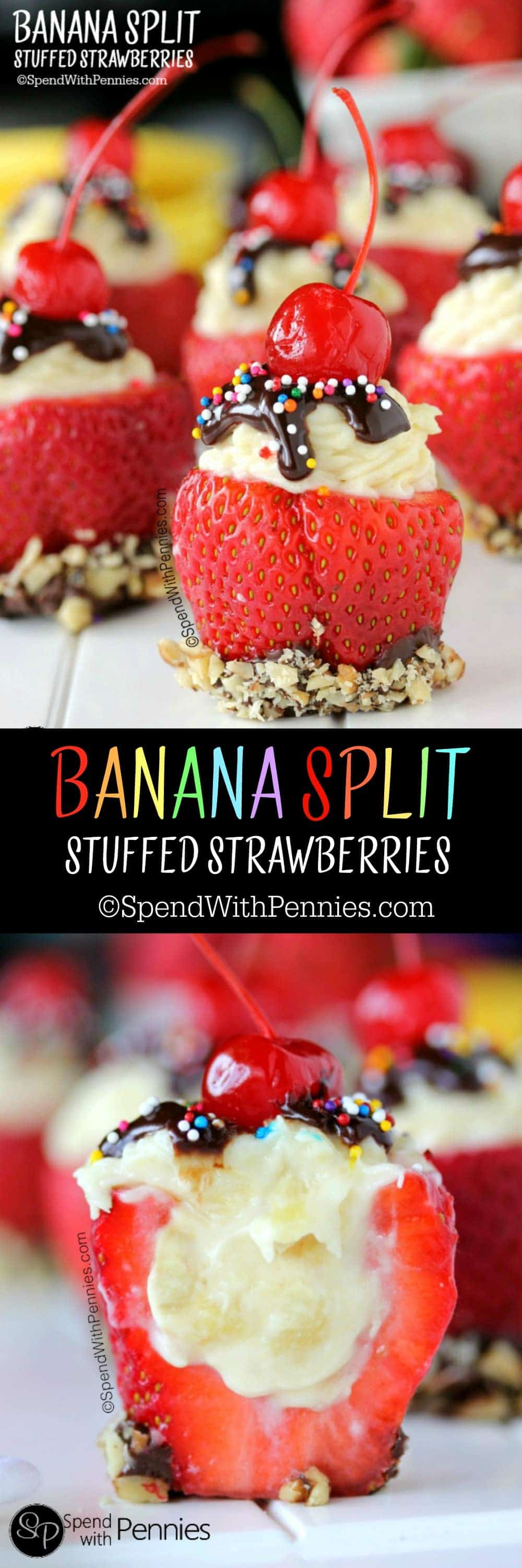 Banana Split Stuffed Strawberries!  These yummy treats are easy to make and perfect for summer!  No baking required! <3
