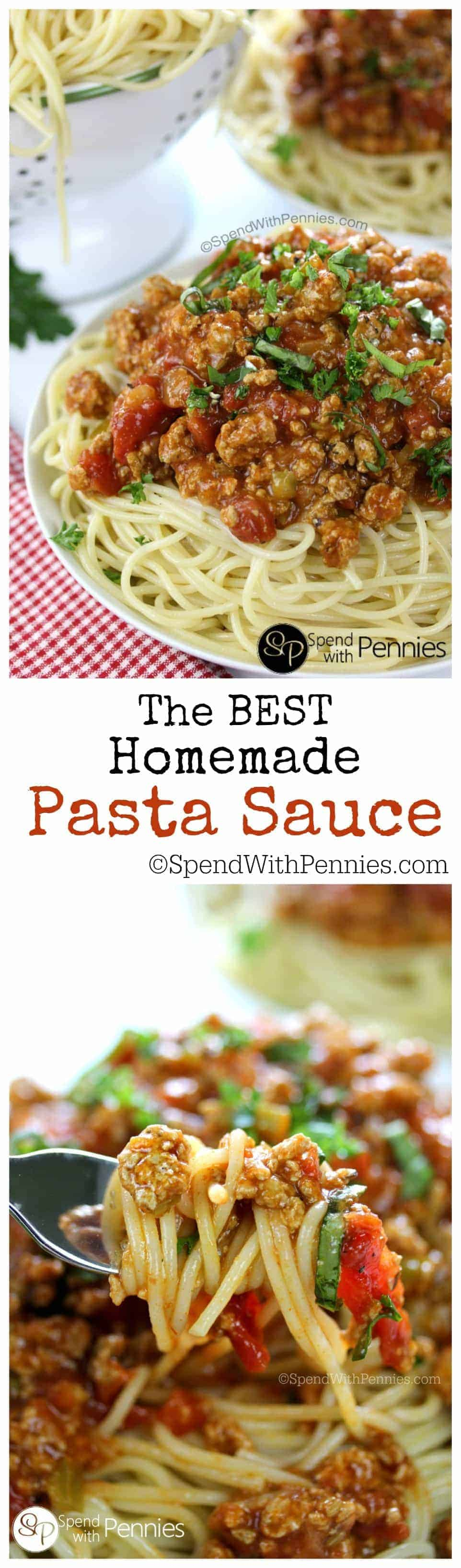 The BEST Homemade Pasta Sauce! This is literally the BEST Homemade Pasta Sauce you'll ever have!  Made with ground turkey or beef, this rich tomato sauce is perfect over spaghetti or in lasagna!