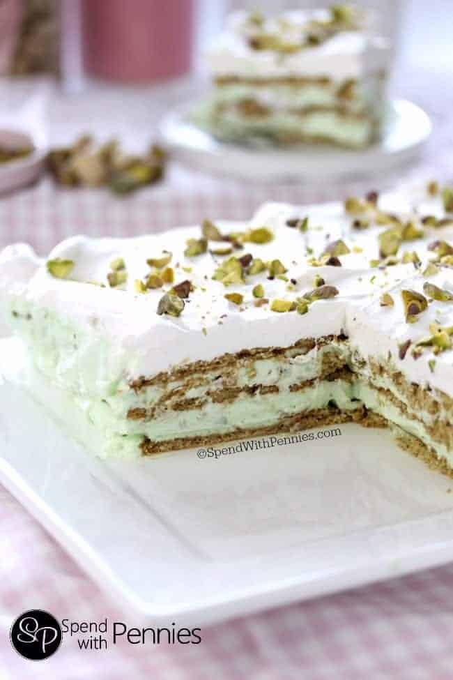No Bake Pistachio Icebox Cake!  This easy recipe takes just minutes to prepare and requires no baking!  The perfect summer dessert!