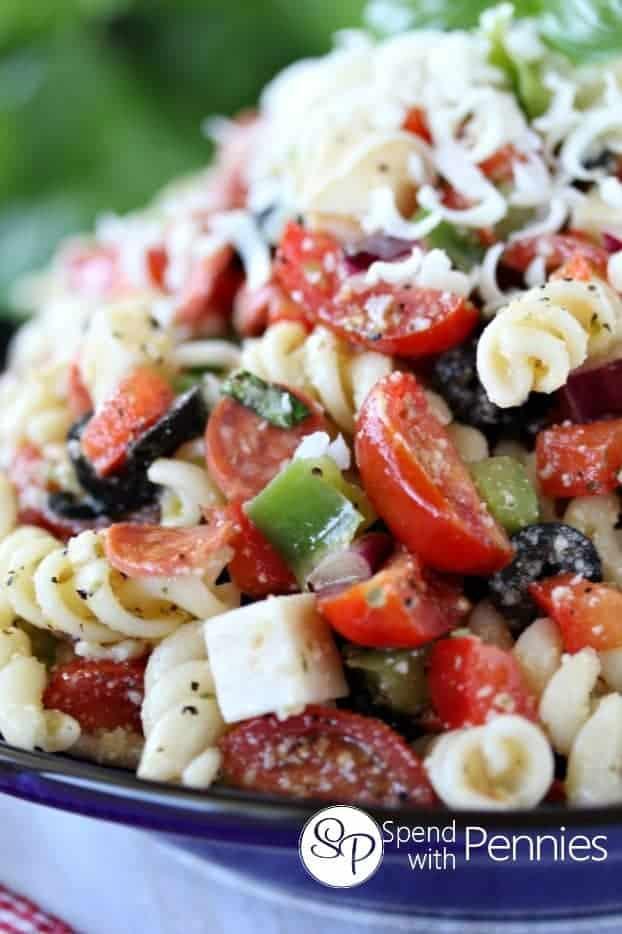 closeup of Pizza Pasta Salad