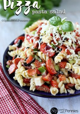 Pizza Pasta Salad is one of our favorite cold salads and the perfect summertime lunch or dinner!
