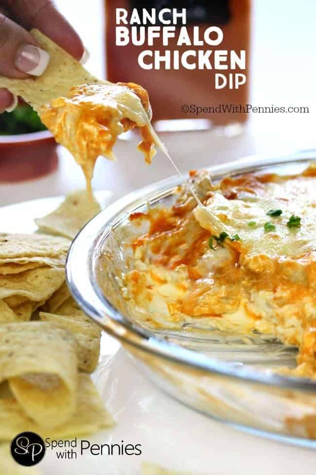 Ranch Buffalo Chicken Dip is the perfect party recipe! Creamy, cheesy ...