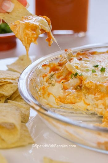 Ranch Buffalo Chicken Wing Dip in a pie plate