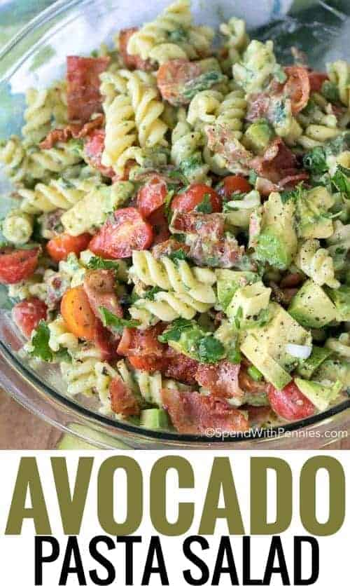 Avocado Pasta Salad is a rich, creamy and totally delicious pasta salad loaded with fresh juicy tomatoes, crisp bacon and creamy avocados. This pasta salad uses avocados in place of mayonnaise for a dressing that is rich and creamy yet loaded with the benefits of avocado!