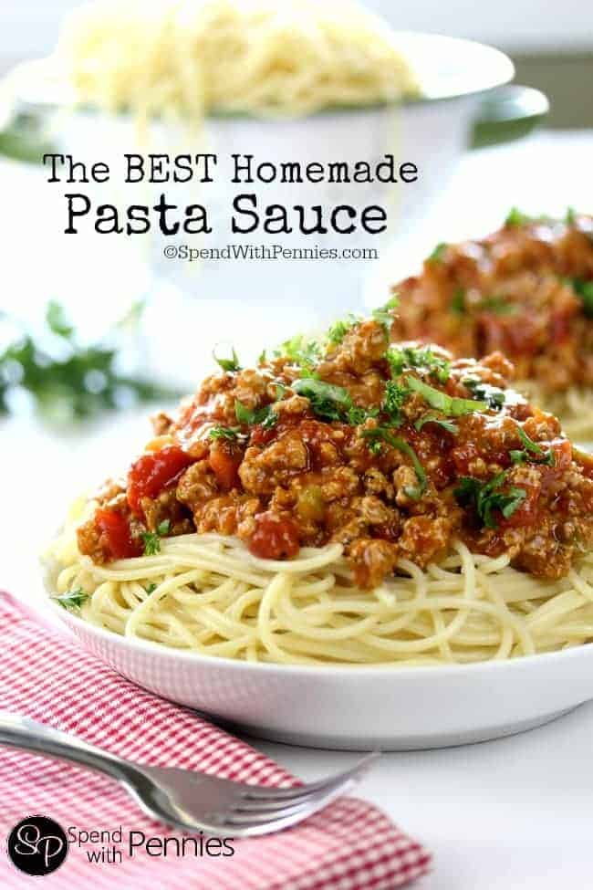 This is the best homemade pasta sauce you'll ever have! While this is made with ground turkey, you can use lean beef if you prefer!