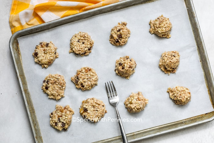 Banana Breakfast Cookies prepped on a baking tray