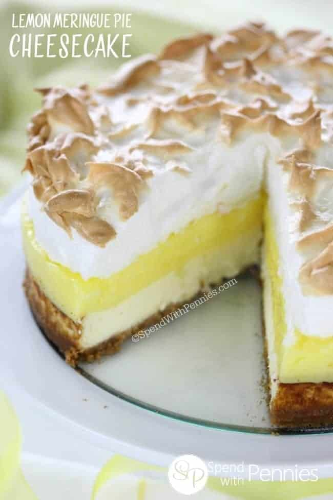 emon Meringue Pie Cheesecake with a slice out of it
