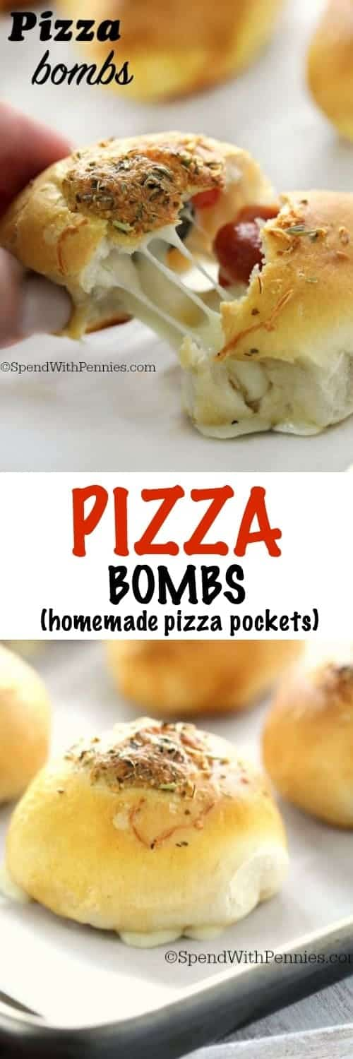 Pizza Bombs with a title