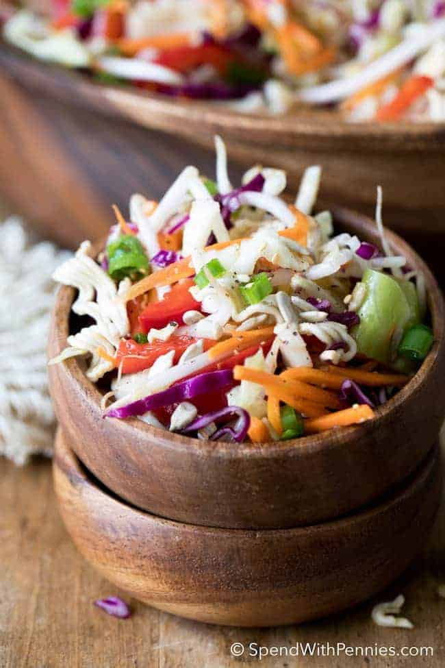 If you need the perfect potluck salad, this make ahead Ramen Coleslaw is it! Loads of fresh veggies & cabbage with ramen noodles in a delicious seasoned dressing.