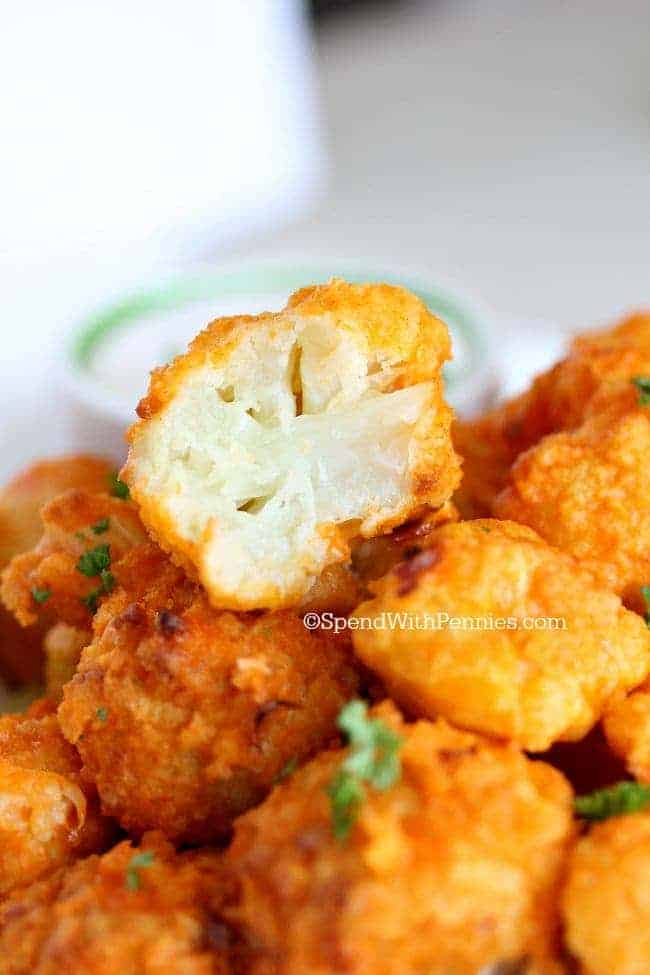 Oven Baked Buffalo Cauliflower bites are a crowd pleaser!! Tender ...