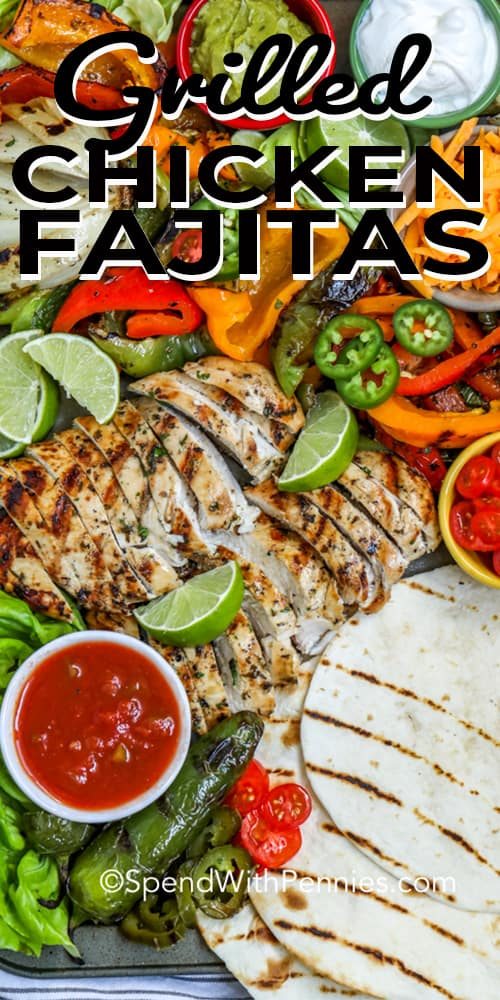 Grilled chicken fajita ingredients on a sheet pan with a title