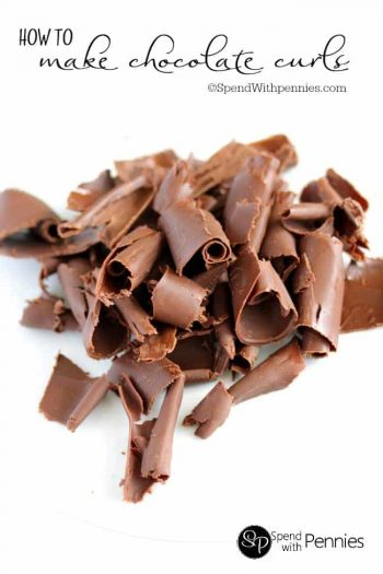 Chocolate Curls on a white plate
