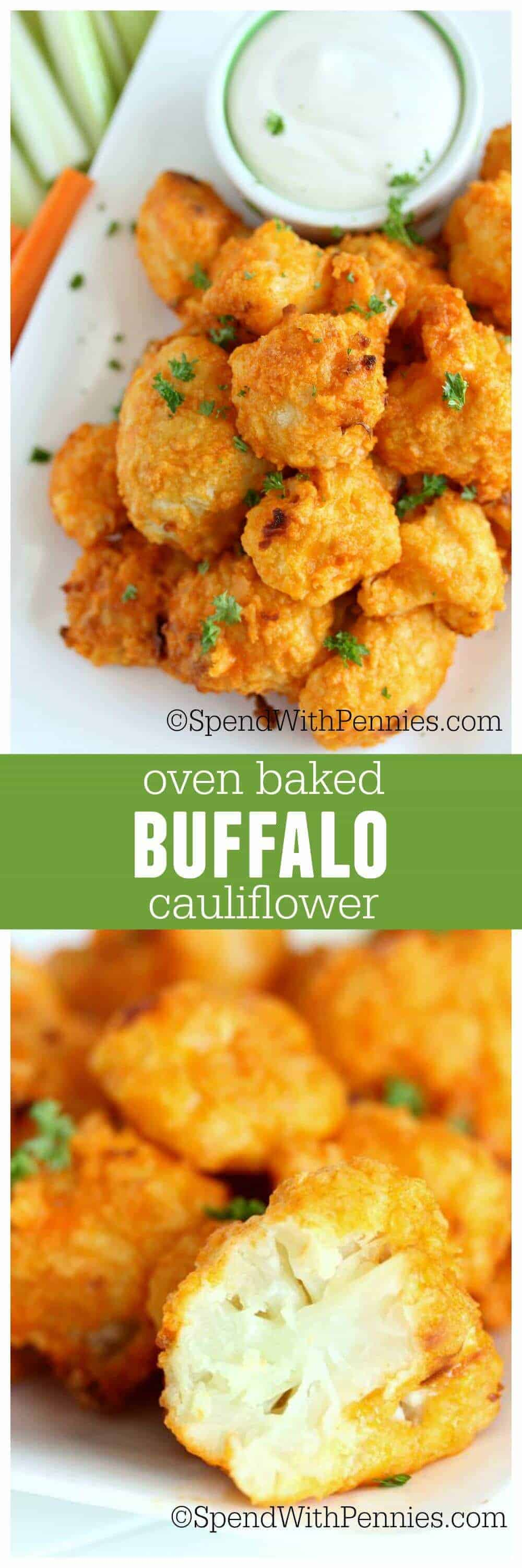 oven baked cauliflower on a plate with dip in a bowl with a title