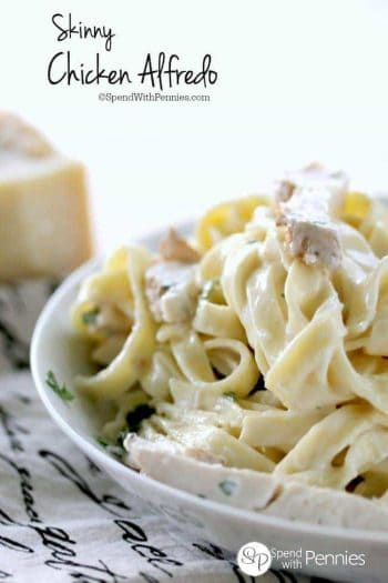 Skinny Chicken Alfredo! Skinny Chicken Alfredo is a rich, creamy & delicious pasta lightened up! Perfect with leftover baked or grilled chicken! Feel free to add in your favorite veggies; broccoli or mushrooms are perfect with this dish!