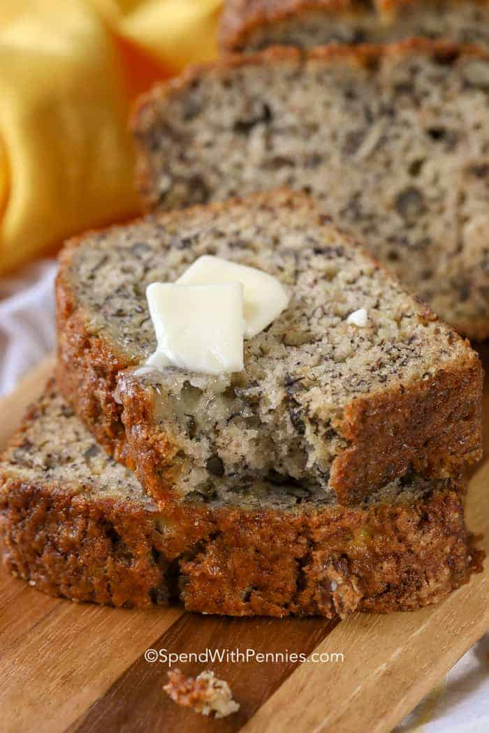 sliced banana bread made from easy banana bread recipe