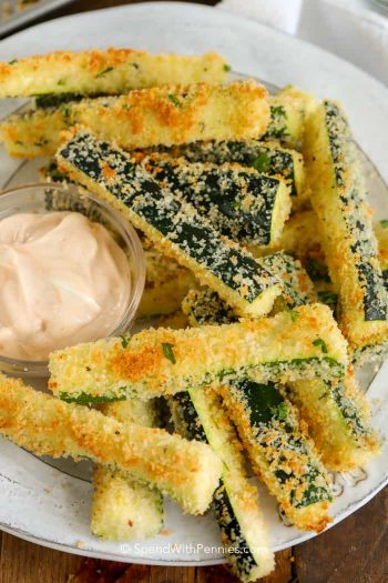 Zucchini Fries on a plate with dipping sauce