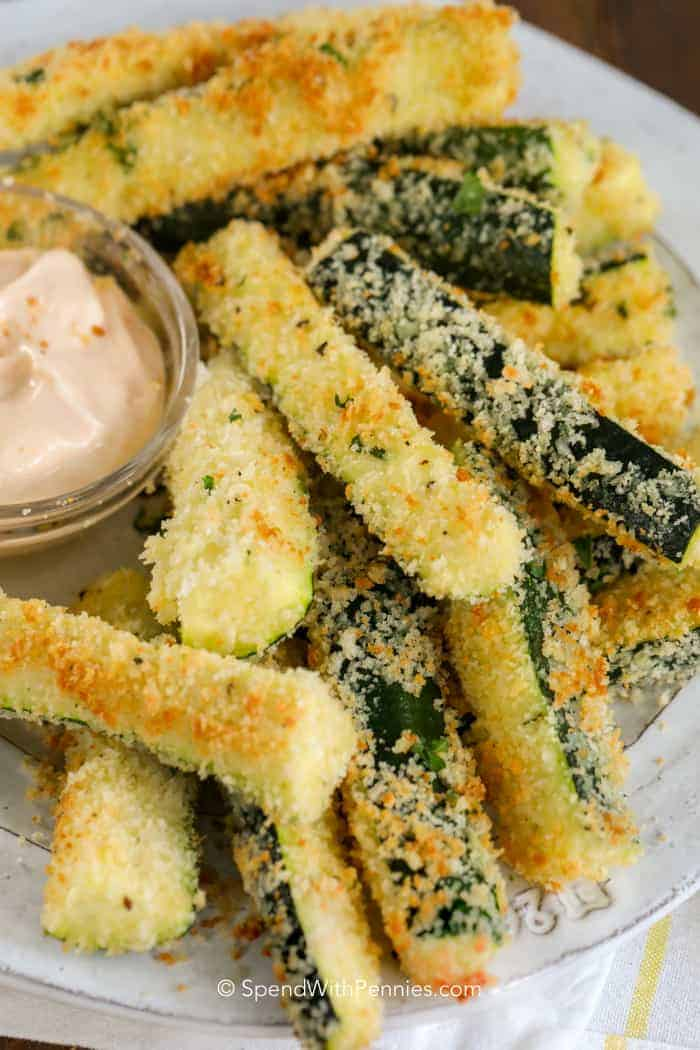 Crispy parmesan zucchini fries on a plate
