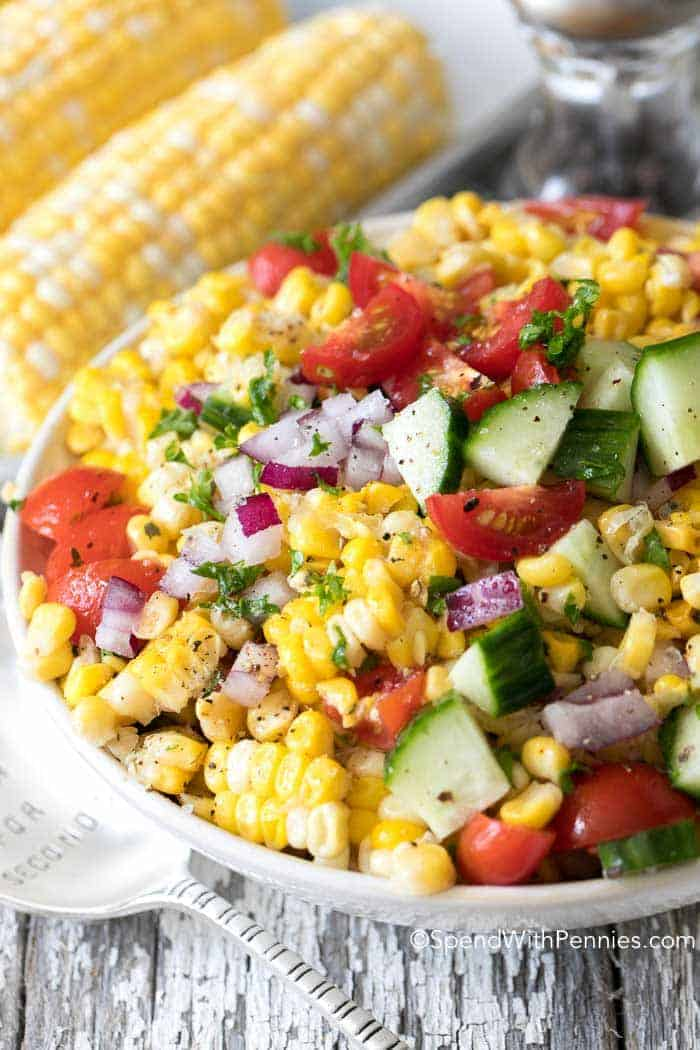 summer corn salad with tomatoes and cucumbers