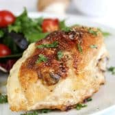 Mushroom Stuffed Chicken Breasts with a title