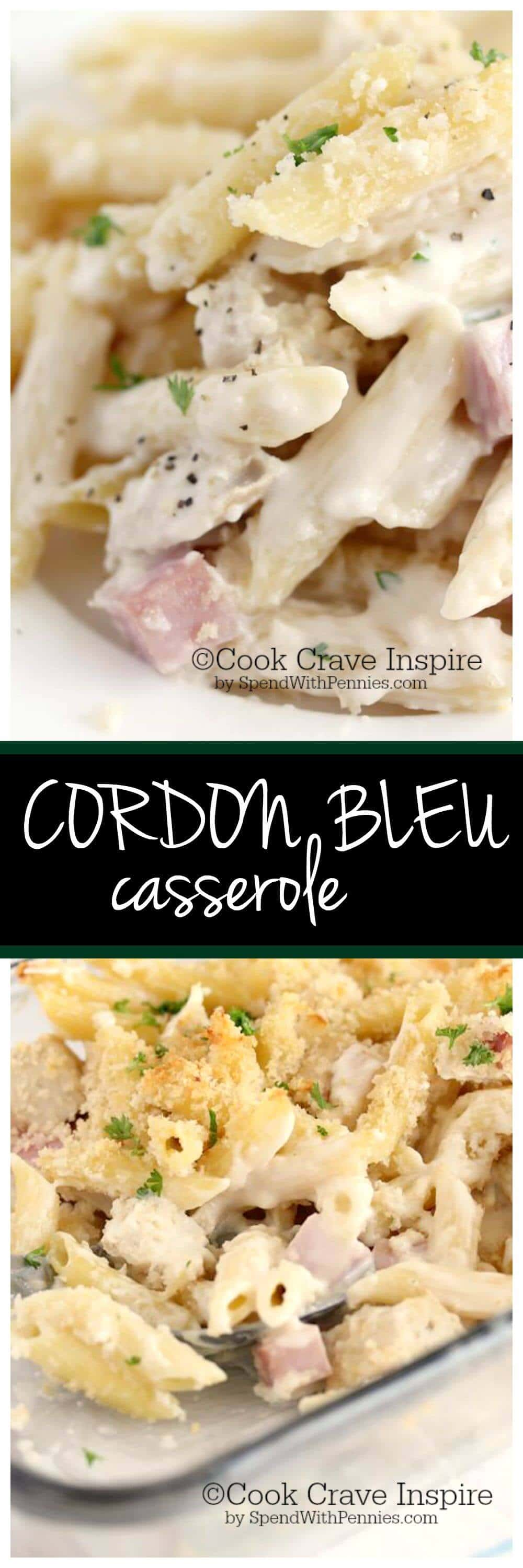 This delicious creamy Cordon Bleu casserole is loaded with chicken, ham & swiss! It's really easy to make from scratch, no canned soup required!