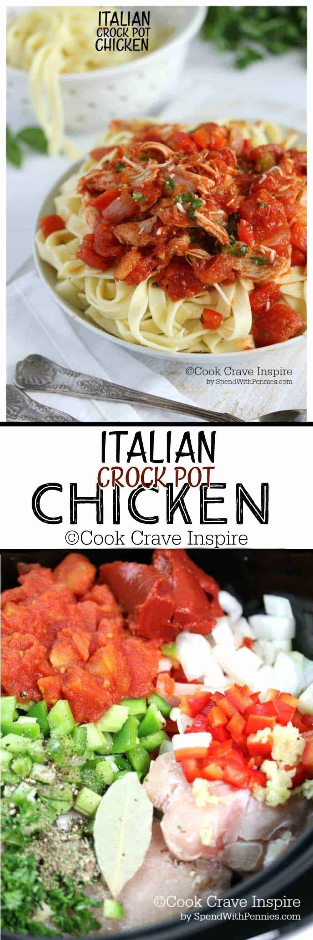 This Italian Crock Pot Chicken is easy to make and tastes delicious! Tender chicken in a zesty tomato sauce loaded with veggies and seasonings... perfect over pasta!