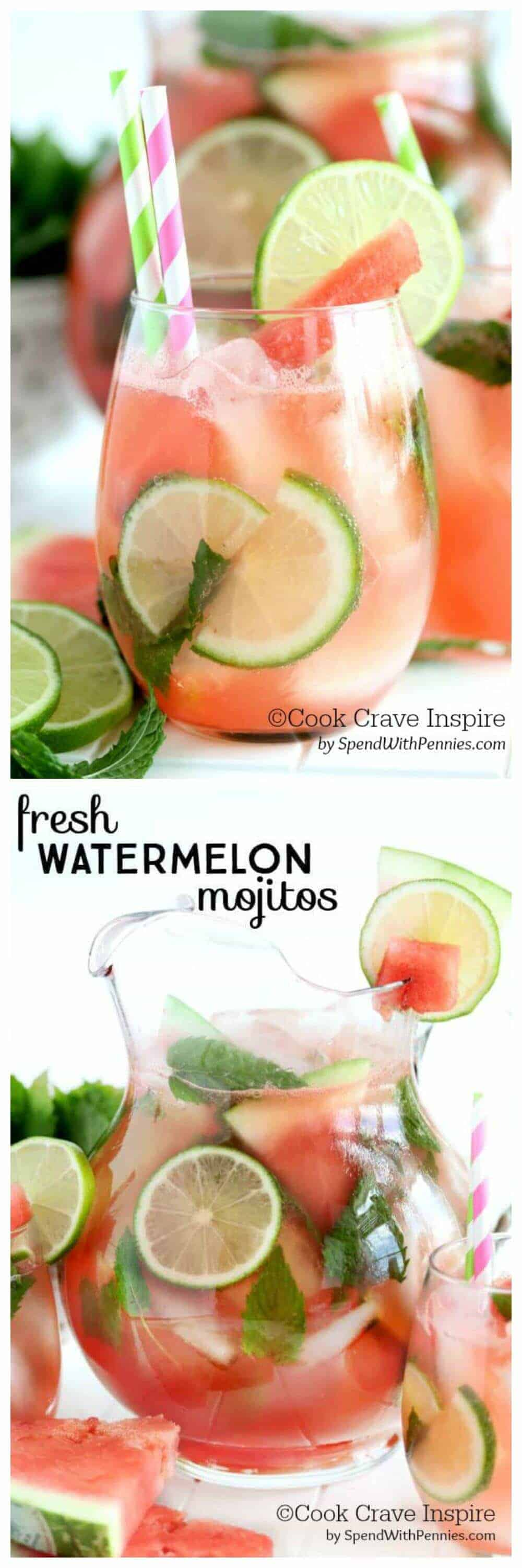 Fresh Watermelon Mojitos in a cup