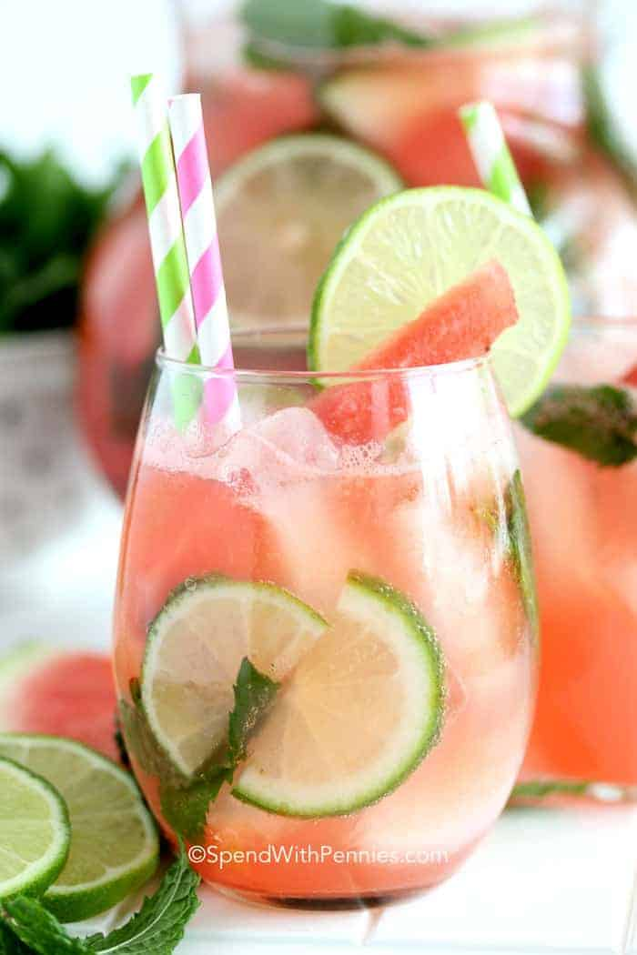 Watermelon Mojito in a clear glass with straw