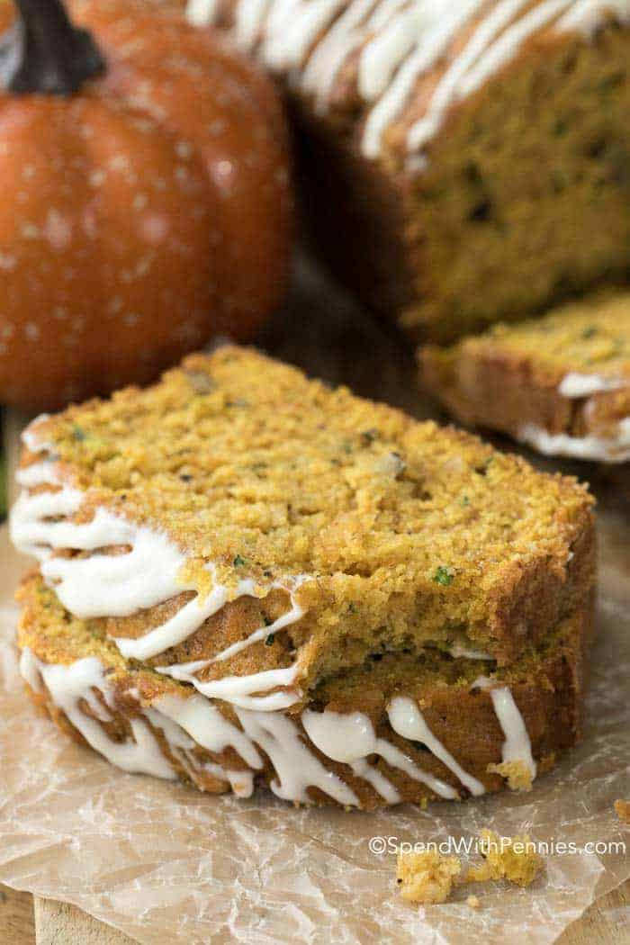 Zucchini Pumpkin Bread slices on board