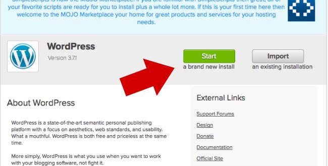 Click A Brand New Install WordPress