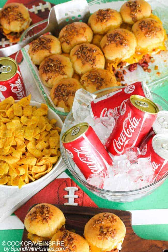 Chili Joes (plus my favorite tailgating tips)! We love chili and we love sloppy joes! This easy recipe combines the two in one amazing bite for the perfect game day snack! Perfect full sized or as sliders!