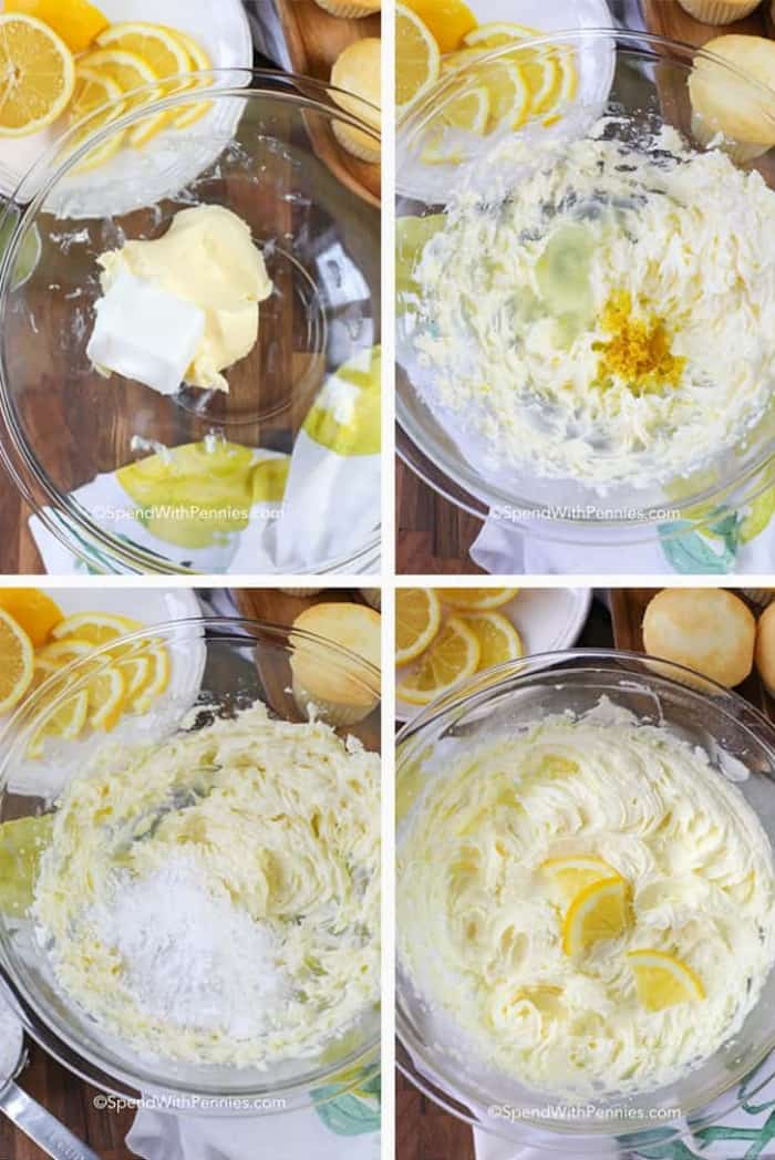 4 photos of the steps to making lemon buttercream frosting including creaming butter, adding lemon and icing sugar
