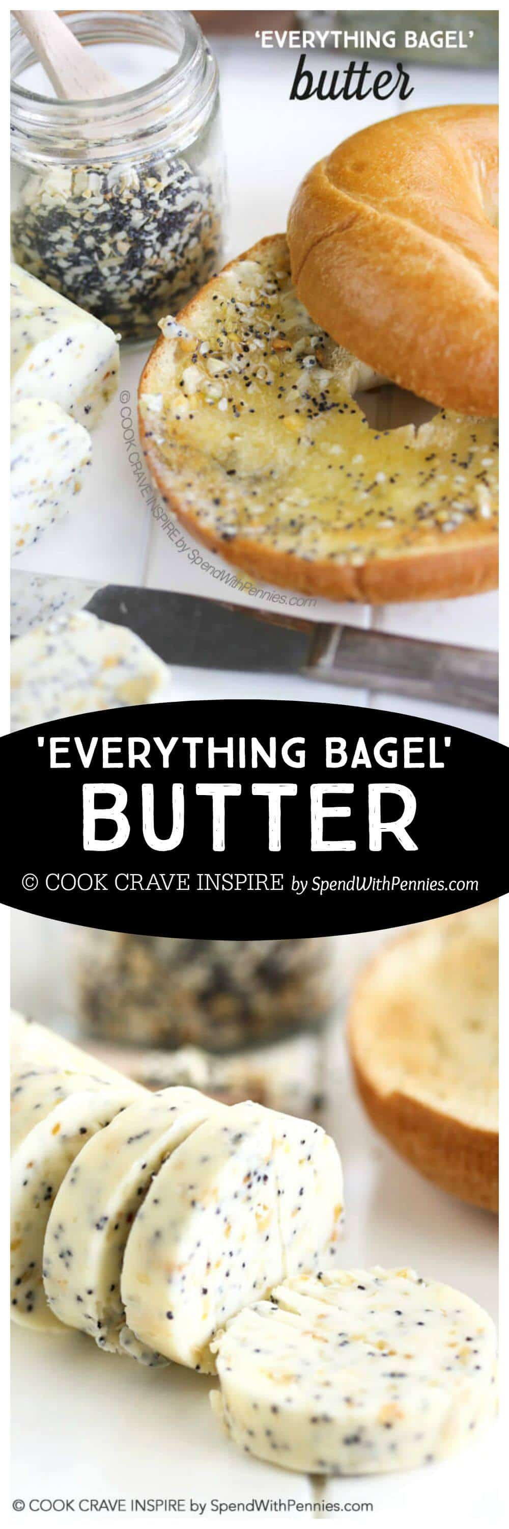 butter and seasoning on a bagel with a title