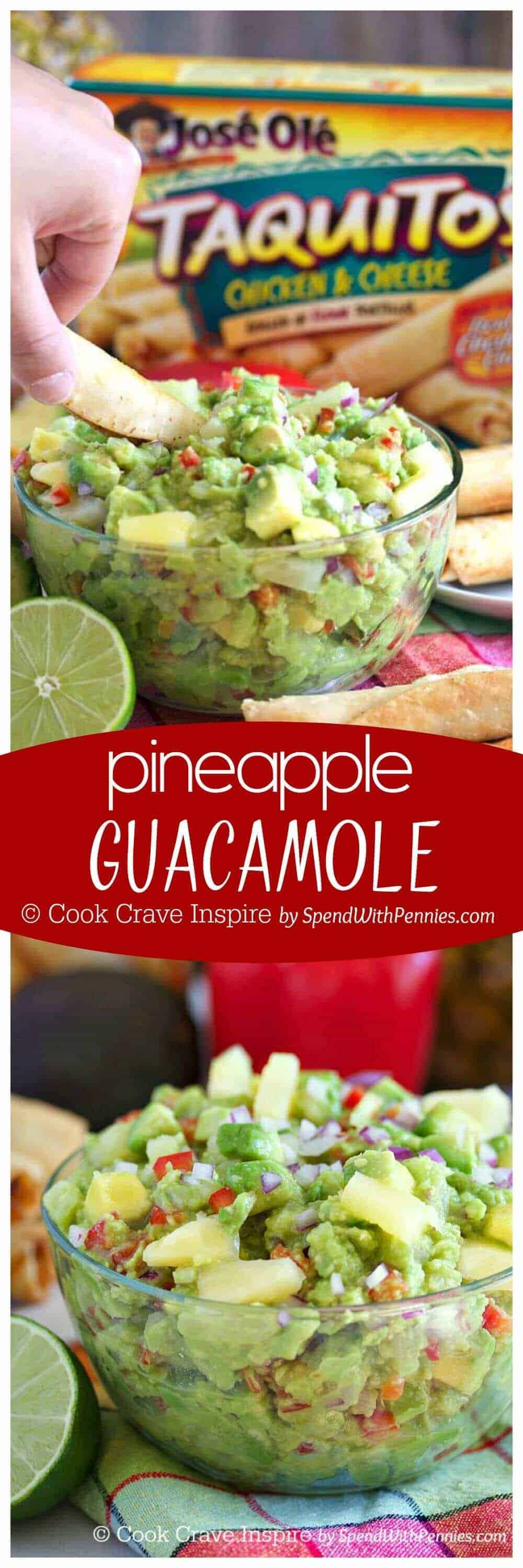Pineapple Guacamole! Buttery avocado with fresh pineapple, cumin and onions is the perfect dip for taquitos & chips!